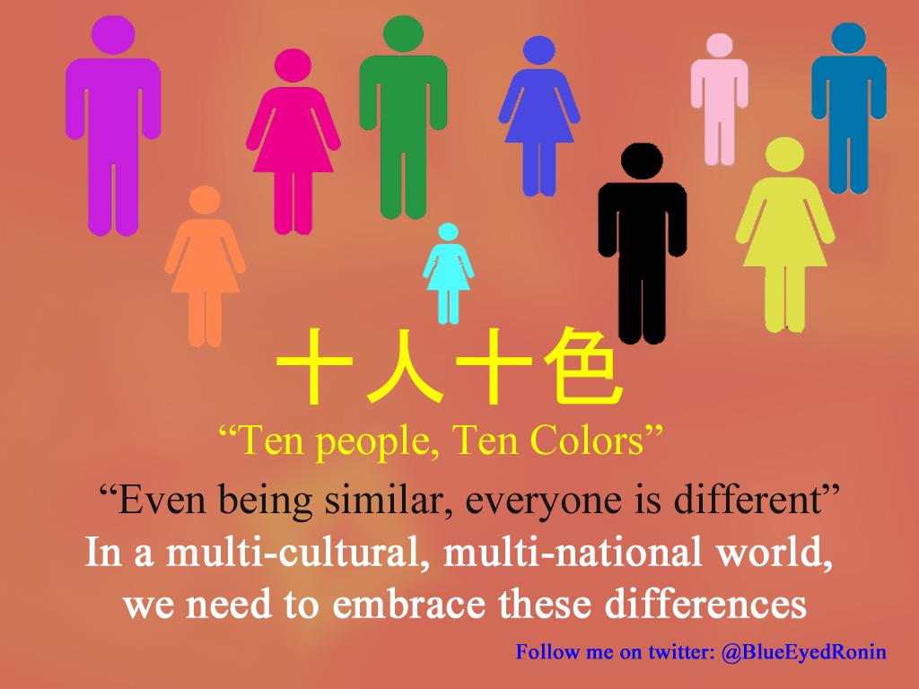 7432331c1c Random Japanese #Kotowaza (日本の諺): 十人十色 (10 People, 10 Colors ...